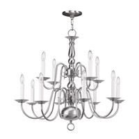 Livex 5012-91 Williamsburgh 12 Light 26 inch Brushed Nickel Chandelier Ceiling Light