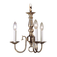 Williamsburgh 3 Light 14 inch Antique Brass Mini Chandelier Ceiling Light