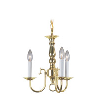 Livex 5013-02 Williamsburgh 3 Light 14 inch Polished Brass Mini Chandelier Ceiling Light