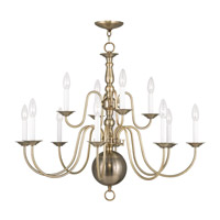 Livex 5014-01 Williamsburgh 12 Light 32 inch Antique Brass Chandelier Ceiling Light