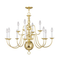 Livex Lighting Williamsburg 12 Light Chandelier in Polished Brass 5014-02