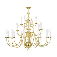 Williamsburgh 22 Light 42 inch Polished Brass Chandelier Ceiling Light