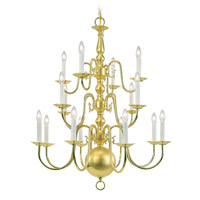 Livex 5016-02 Williamsburgh 16 Light 27 inch Polished Brass Chandelier Ceiling Light