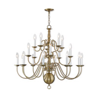 Williamsburgh 20 Light 36 inch Antique Brass Foyer Chandelier Ceiling Light