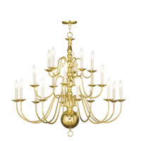 Livex 5019-02 Williamsburgh 20 Light 36 inch Polished Brass Chandelier Ceiling Light