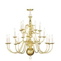 Livex Lighting Williamsburg 20 Light Chandelier in Polished Brass 5019-02 photo thumbnail