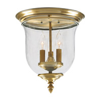 Legacy 3 Light 12 inch Antique Brass Ceiling Mount Ceiling Light in Hand Blown Clear