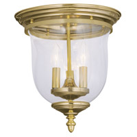 Livex 5021-02 Legacy 3 Light 12 inch Polished Brass Ceiling Mount Ceiling Light in Clear