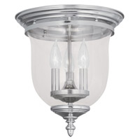 Livex 5021-35 Legacy 3 Light 12 inch Polished Nickel Ceiling Mount Ceiling Light in Clear