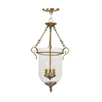 Livex 5022-01 Legacy 3 Light 15 inch Antique Brass Pendant Ceiling Light in Hand Blown Clear