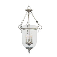 Livex 5022-91 Legacy 3 Light 15 inch Brushed Nickel Pendant Ceiling Light in Clear