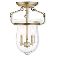 Livex 50293-01 Canterbury 2 Light 10 inch Antique Brass Flush Mount Ceiling Light