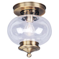 Livex Lighting Harbor 1 Light Ceiling Mount in Antique Brass 5032-01