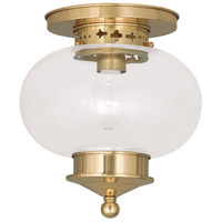 Livex 5032-02 Harbor 1 Light 10 inch Polished Brass Ceiling Mount Ceiling Light