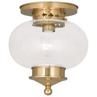 Livex 5032-02 Harbor 1 Light 10 inch Polished Brass Ceiling Mount Ceiling Light