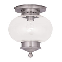 Livex Lighting Harbor 1 Light Ceiling Mount in Brushed Nickel 5032-91
