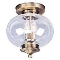 Livex Lighting Harbor 3 Light Ceiling Mount in Antique Brass 5033-01