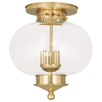 Livex 5033-02 Harbor 3 Light 11 inch Polished Brass Ceiling Mount Ceiling Light