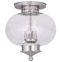Livex Lighting Harbor 3 Light Ceiling Mount in Polished Nickel 5033-35