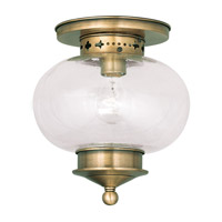 Livex 5036-01 Harbor 1 Light 10 inch Antique Brass Ceiling Mount Ceiling Light