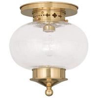 Livex 5036-02 Harbor 1 Light 10 inch Polished Brass Ceiling Mount Ceiling Light