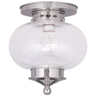 Livex Lighting Harbor 1 Light Ceiling Mount in Polished Nickel 5036-35