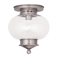 Livex Lighting Harbor 1 Light Ceiling Mount in Brushed Nickel 5036-91