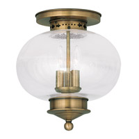 Livex Lighting Harbor 3 Light Ceiling Mount in Antique Brass 5037-01