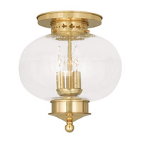 Livex Lighting Harbor 3 Light Ceiling Mount in Polished Brass 5037-02
