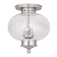 Livex Lighting Harbor 3 Light Ceiling Mount in Polished Nickel 5037-35