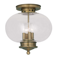 Livex Lighting Harbor 4 Light Ceiling Mount in Antique Brass 5039-01
