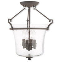 Livex Lighting Buchanan 4 Light Flush Mount in Bronze 50405-07