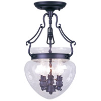 Livex Lighting Duchess 3 Light Pendant/Ceiling Mount in Black 5041-04