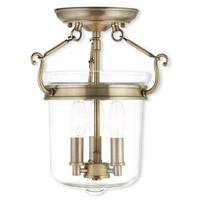 Livex 50481-01 Rockford 3 Light 11 inch Antique Brass Flush Mount Ceiling Light