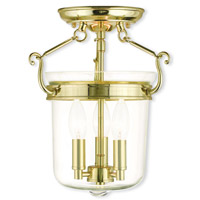 Rockford 3 Light 11 inch Polished Brass Flush Mount Ceiling Light