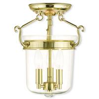 Livex 50481-02 Rockford 3 Light 11 inch Polished Brass Flush Mount Ceiling Light