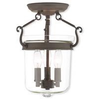 Livex 50481-07 Rockford 3 Light 11 inch Bronze Flush Mount Ceiling Light