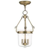 Livex 50482-01 Rockford 3 Light 11 inch Antique Brass Pendant Ceiling Light