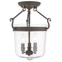 Livex 50483-07 Rockford 3 Light 12 inch Bronze Flush Mount Ceiling Light