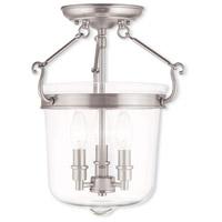 Livex 50483-91 Rockford 3 Light 12 inch Brushed Nickel Flush Mount Ceiling Light