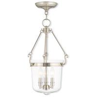 Livex 50484-35 Rockford 3 Light 12 inch Polished Nickel Pendant Ceiling Light