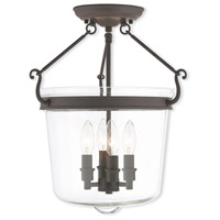 Livex 50485-07 Rockford 4 Light 14 inch Bronze Flush Mount Ceiling Light