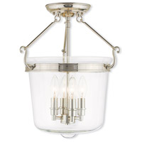 Livex Lighting Rockford 4 Light Flush Mount in Polished Nickel 50485-35