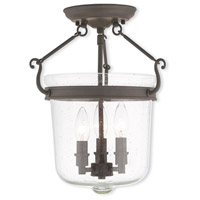 Winchester 3 Light 12 inch Bronze Flush Mount Ceiling Light