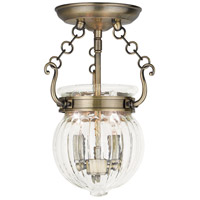 Livex 50502-01 Everett 2 Light 9 inch Antique Brass Flush Mount Ceiling Light