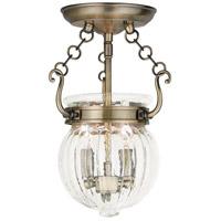 Livex 50502-01 Everett 2 Light 9 inch Antique Brass Flush Mount Ceiling Light