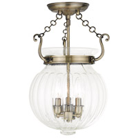 Livex 50504-01 Everett 3 Light 12 inch Antique Brass Flush Mount Ceiling Light