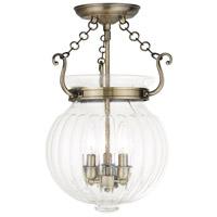 Livex 50504-01 Everett 3 Light 12 inch Antique Brass Flush Mount Ceiling Light