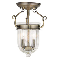 Livex 50512-01 Coventry 2 Light 9 inch Antique Brass Flush Mount Ceiling Light