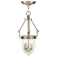 Livex 50513-01 Coventry 2 Light 9 inch Antique Brass Pendant Ceiling Light